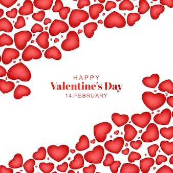 Tarjeta de felicitación feliz día de san valentín con corazones
