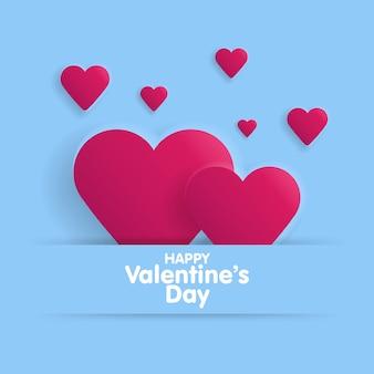 Tarjeta de felicitación feliz día de san valentín. letras con corazones en el fondo