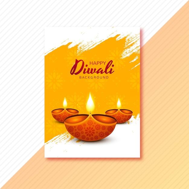 Tarjeta de felicitación feliz diwali con lámpara de aceite decorativa