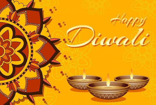 Tarjeta de felicitación feliz del festival de diwali
