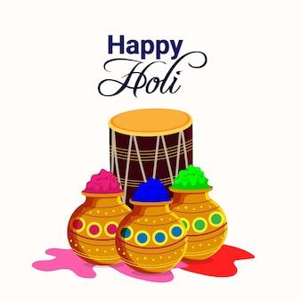 Tarjeta de felicitación feliz holi con olla de barro colorido y tambor