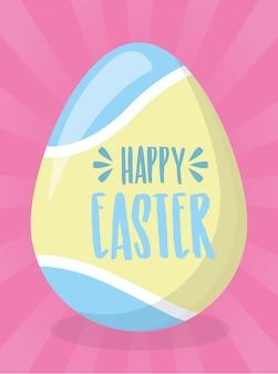 Tarjeta de felicitación feliz del huevo de pascua pintura