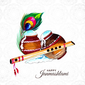 Tarjeta de felicitación feliz janmashtami