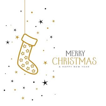 Tarjeta de felicitación de feliz navidad y año nuevo con calcetines y estrellas