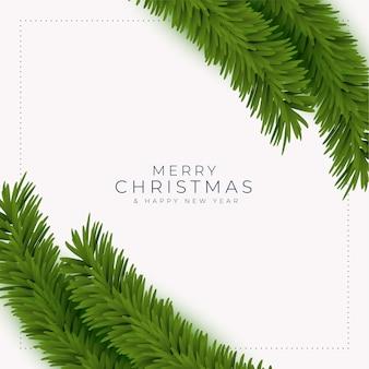 Tarjeta de felicitación de feliz navidad y año nuevo con ramas de árboles realistas