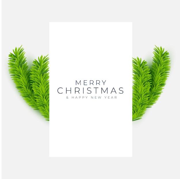 Tarjeta de felicitación de feliz navidad y año nuevo con ramas realistas de pino