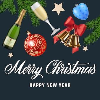 Tarjeta de felicitación de feliz navidad y año nuevo