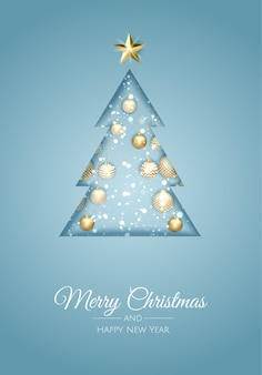Tarjeta de felicitación de feliz navidad con árbol de año nuevo.