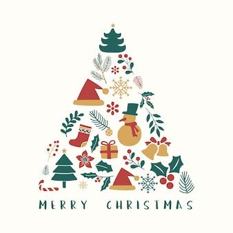 Tarjeta de felicitación de feliz navidad con árbol moderno