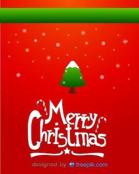 Tarjeta de felicitación de feliz navidad de árbol navideño nevado y copos de nieve