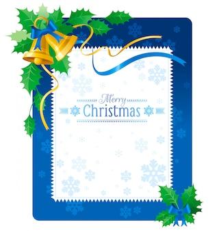 Tarjeta de felicitación de feliz navidad azul con cascabeles.