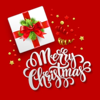 Tarjeta de felicitación de feliz navidad, caja de regalo de navidad, tarjeta de felicitación.