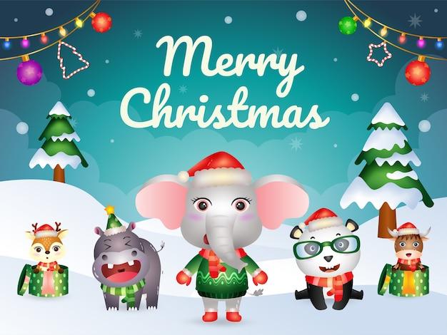 Tarjeta de felicitación de feliz navidad con carácter de animales lindos: elefante, panda, búfalo, hipopótamo y ciervo