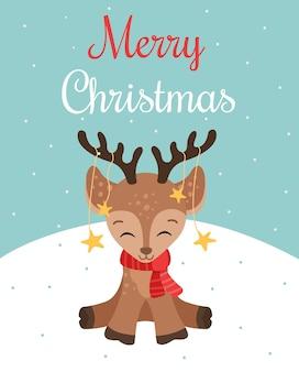 Tarjeta de felicitación de feliz navidad con ciervo lindo bebé en la bufanda roja, ilustración vectorial