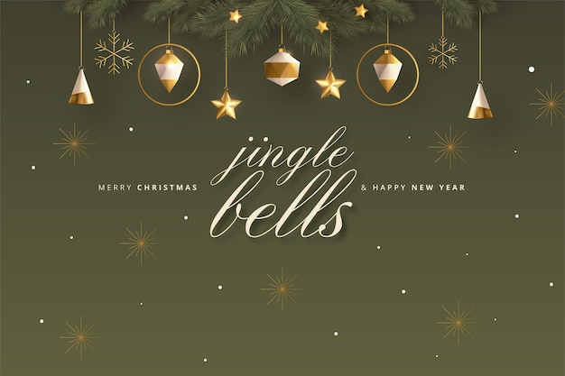 Tarjeta de felicitación de feliz navidad con decoración navideña realista