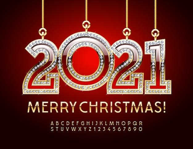 Tarjeta de felicitación feliz navidad con diamante 2021. chic font. números y letras del alfabeto de oro