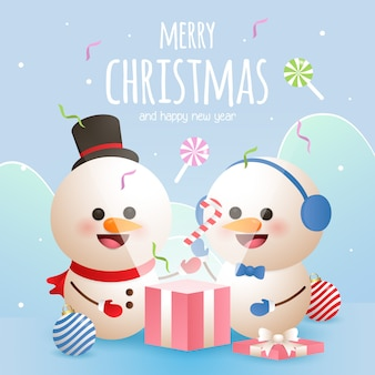 Tarjeta de felicitación de feliz navidad con dos muñeco de nieve abrir una caja de regalo
