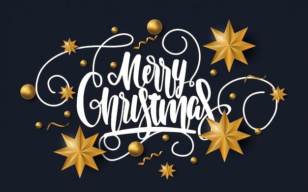 Tarjeta de felicitación de feliz navidad con estrellas doradas.