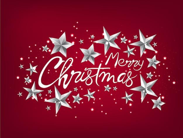 Tarjeta de felicitación de feliz navidad con estrellas plateadas