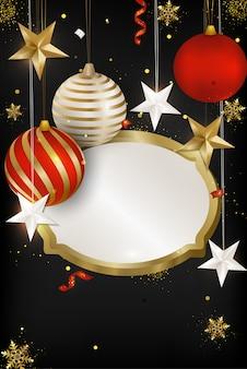 Tarjeta de felicitación de feliz navidad y feliz año nuevo 2020. bolas de navidad, copos de nieve, serpentina, confeti, estrellas 3d sobre fondo negro. .