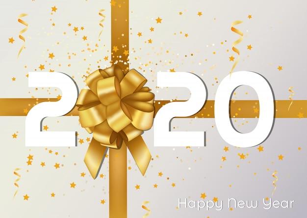 Tarjeta de felicitación de feliz navidad y feliz año nuevo 2020 y cartel con cinta dorada y presente.