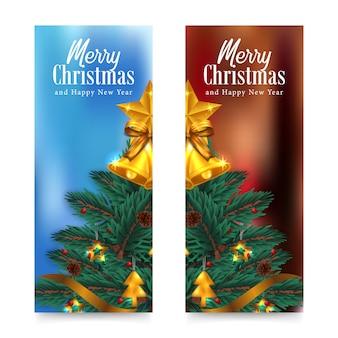 Tarjeta de felicitación de feliz navidad y feliz año nuevo con árbol con abeto, pino, hojas de abeto decoración de guirnalda, campana de acebo dorado, estrella