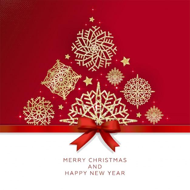 Tarjeta de felicitación de feliz navidad y feliz año nuevo con árbol de navidad hecho de brillantes copos de nieve