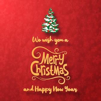 Tarjeta de felicitación de feliz navidad y feliz año nuevo con árbol de navidad