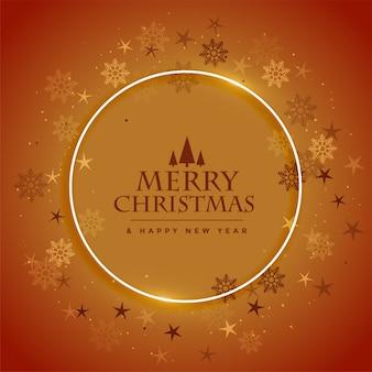 Tarjeta de felicitación de feliz navidad y feliz año nuevo con copos de nieve marco diseño marrón