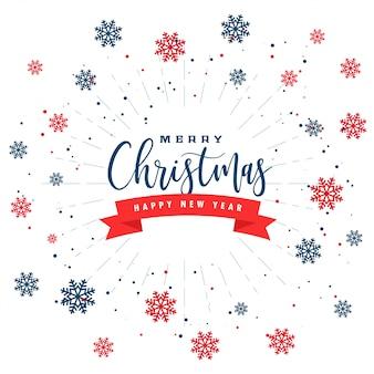 Tarjeta de felicitación de feliz navidad y feliz año nuevo con copos de nieve negros rojos