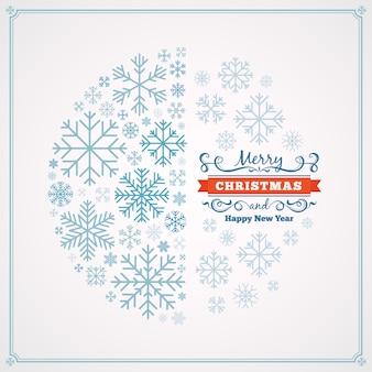 Tarjeta de felicitación de feliz navidad y feliz año nuevo con diseño hecho de copos de nieve