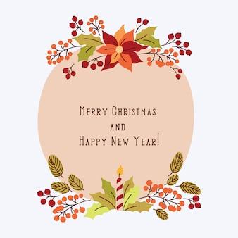 Tarjeta de felicitación de feliz navidad y feliz año nuevo con flores vintage
