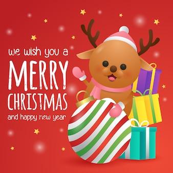 Tarjeta de felicitación de feliz navidad y feliz año nuevo con lindos renos