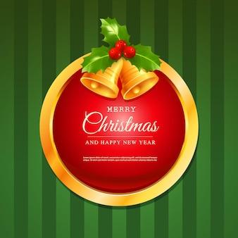 Tarjeta de felicitación de feliz navidad y feliz año nuevo postal de vector con campanas de marco dorado y lazo rojo