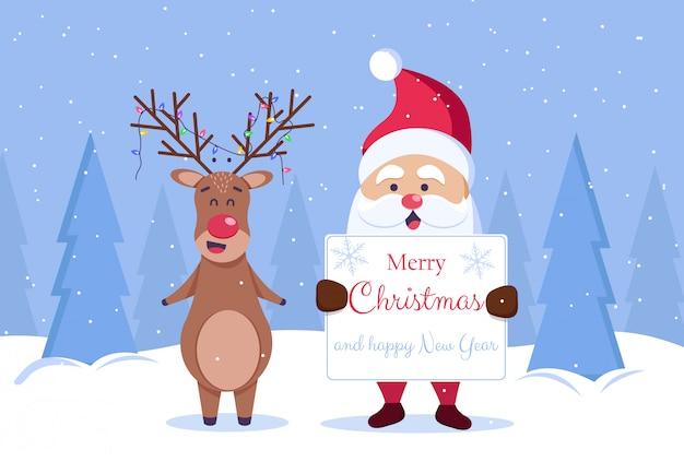 Tarjeta de felicitación de feliz navidad y feliz año nuevo. santa y ciervos