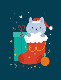 Tarjeta de felicitación de feliz navidad con gato gracioso y decoraciones festivas