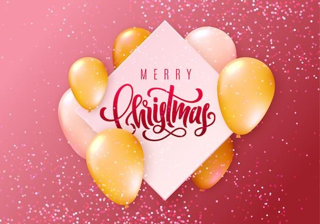 Tarjeta de felicitación de feliz navidad con globos voladores brillantes realistas y confeti brillante