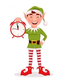 Tarjeta de felicitación de feliz navidad con gracioso duende