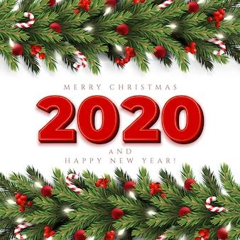 Tarjeta de felicitación de feliz navidad con una guirnalda realista de ramas de pino