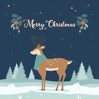 Tarjeta de felicitación de feliz navidad con ilustración de lindo ciervo.