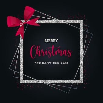 Tarjeta de felicitación de feliz navidad con lazo rojo y brillo plateado