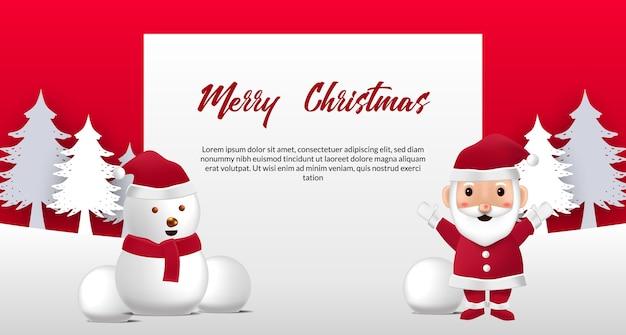 Tarjeta de felicitación de feliz navidad con linda ilustración de santa claus y muñeco de nieve
