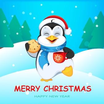 Tarjeta de felicitación de feliz navidad con lindo pingüino
