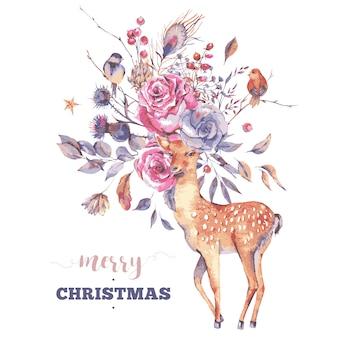 Tarjeta de felicitación de feliz navidad con lindos ciervos y flores