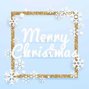 Tarjeta de felicitación de feliz navidad con marco dorado brillo.