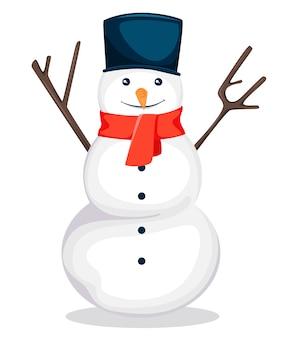Tarjeta de felicitación de feliz navidad con muñeco de nieve