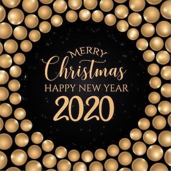 Tarjeta de felicitación de feliz navidad negra y dorada