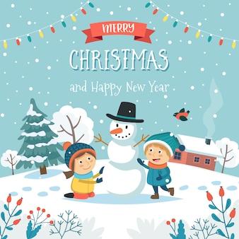 Tarjeta de felicitación de feliz navidad con niños haciendo muñeco de nieve y texto.