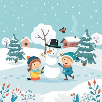 Tarjeta de felicitación de feliz navidad con niños haciendo muñeco de nieve.