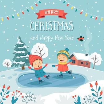 Tarjeta de felicitación de feliz navidad con niños patinaje sobre hielo y texto.